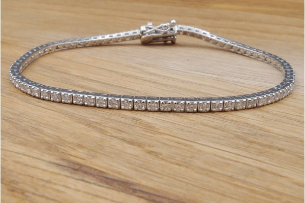 Bracelet ligne or gris diamants 1.10 ct F/VVS