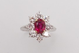 "Bague ""Entourage"" Rubis 1.38 ct et diamants 1.1 ct"