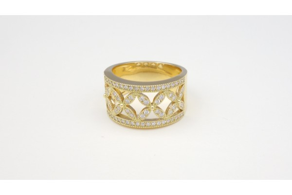 Bague bandeau diamants or jaune